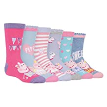 6 Pack Boys Girls Kids Colorful Funky Fun Cotton Peppa Pig / George Crew Socks