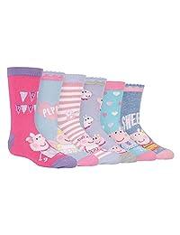 6 Pack Boys Girls Kids Colorful Funky Fun Cotton Peppa Pig / George Crew Socks