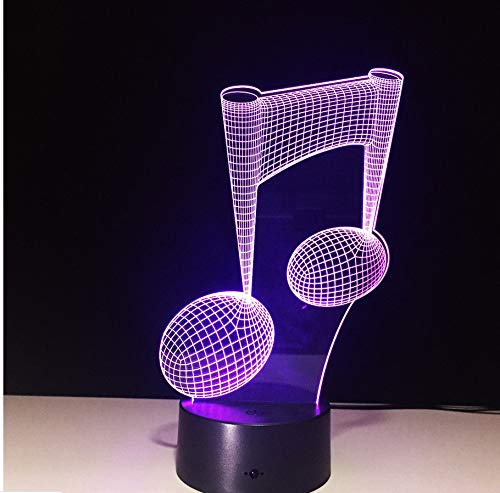 Lámpara 3D Notas De Música Led Luz De Noche 3D Lámpara De Escritorio De Mesa De Led Colorida Figura Dormir De Los Niños: Amazon.es: Iluminación