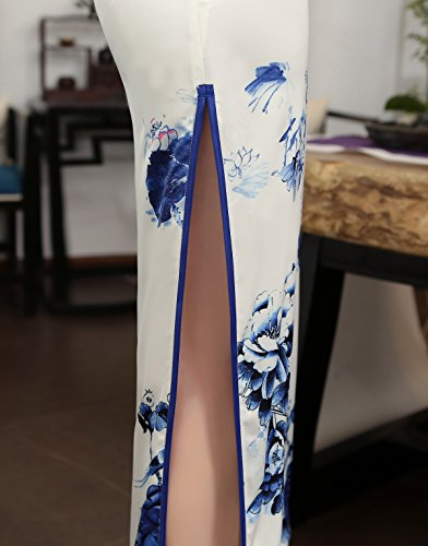 ACVIP Women Cap Sleeve Chinese Paint Floral Maxi Qipao Side Split Cheongsam (China S/Bust:32.3'') by ACVIP (Image #5)