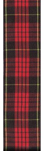Offray Monofilament Edge Classic Tartan Plaid Craft Ribbon, 1-1/2-Inch Wide by 25-Yard Spool, Cameron