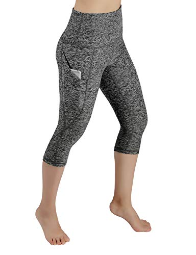 ODODOS High Waist Out Pocket Yoga Capris Pants Tummy Control Workout Running 4 Way Stretch Yoga Leggings,CharcoalHeather,Small