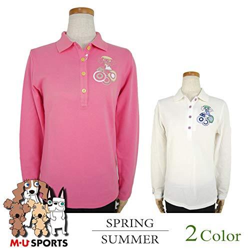 [エム ユースポーツ] 長袖ポロシャツ (メルー) レディース ゴルフウェア 44(LL寸) ホワイト(001) B07R2J9QWK