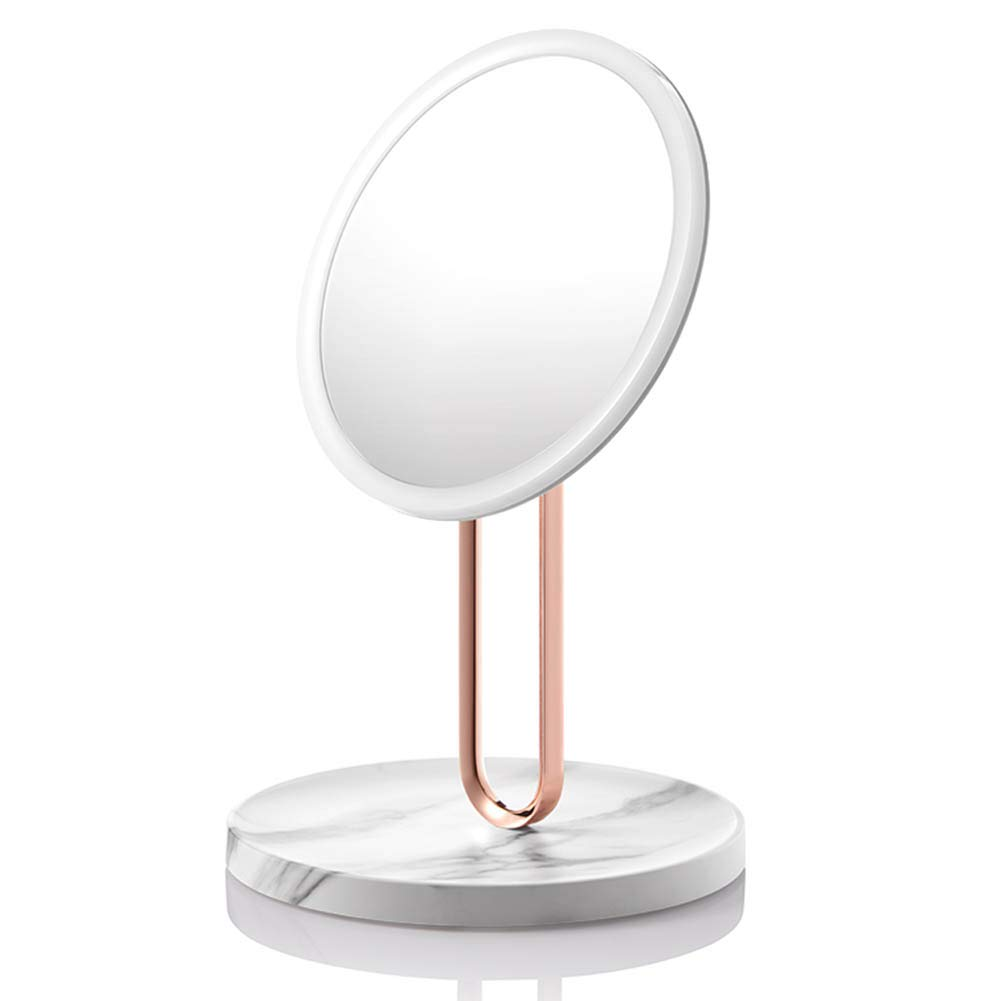Marbled 20.5x32.6cm DH JINGZI - Makeup Mirror Makeup Mirror Round Double-Sided redating Dimming Soft Light Led Fill Light USB Interface Dressing Table ABS Plastic, 3 colors (color   Marbled, Size   20.5x32.6cm)