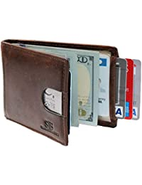 RFID Blocking Slim Bifold Genuine Leather Minimalist Front Pocket Wallets for Men with Money Clip
