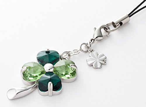 Kisaragi Cell phone Strap026 four-leaf clover (Emerald + peridot)