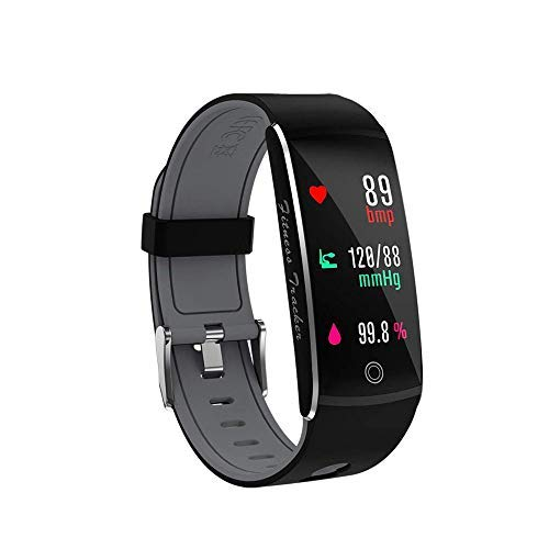 Huangchao Inc Fitness Tracker, Smart Watch 4 Sports Mode, Heart Rate Monitor IP67 Waterproof Activity Tracker, Sleep & Blood Pressure Oxygen Monitor, Calorie/Step Counter Smart Wristband iOS Android