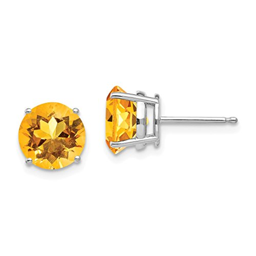 14k White Gold 8mm Yellow Citrine Post Stud Ball Button Earrings Gemstone Fine Jewelry For Women Gift ()