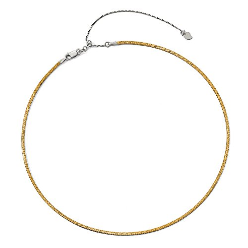 2mm 14k Two Tone Gold Reversible Adjustable Omega Necklace 16-20 Inch (2 Mm Omega Necklace)