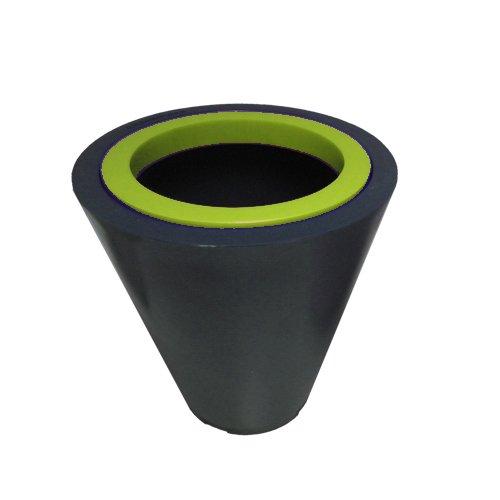 Green City Open XS Blumentopf, Kunstharz / Kunststoff, rund, mit Ring, Anthrazit / Anisgrün
