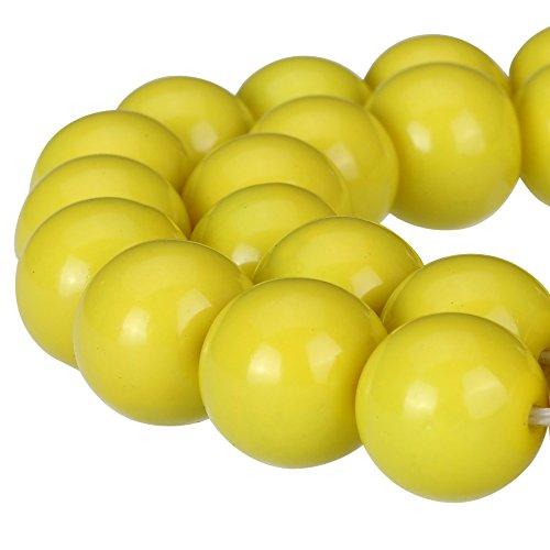 RUBYCA Round Opaque Painted Druk Czech Glass Beads Bulk Jewelry Making Supplies Strand (Yellow, 8mm)