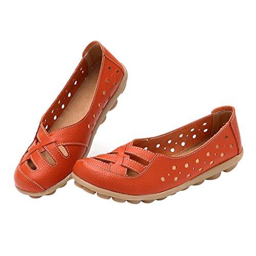 Optimal Womens Leather flat Loafer Shoes Orange m1zDPvt
