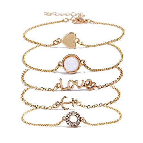 ISAACSONG.DESIGN Boho Multilayer Handmade Colorful Tassel Bead Charms Gold Bracelet Set for Women (5 pcs Arrow, Heart,Anchor,Circle,Stone)]()