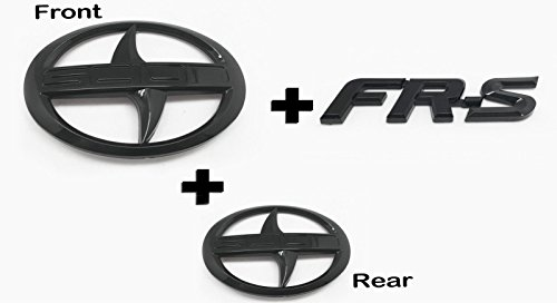 Zizii SC-02B+SC-FB 3 Pieces Black Out Scion GT86 FR-S Front Hood Rear Badge Emblem FRS F/R Pair FGB for Scion (2011-2016) (Glossy Black)