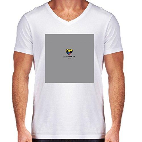 Camiseta Blanca Con V-Cuello para los hombres - Tamaño S - Camisa Del Fútbol