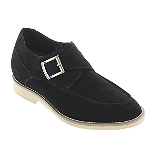 CALTO - T66070-2.8 Inches Taller - Height Increasing Elevator Shoes - Nubuck Black Slip-on Casual Shoes