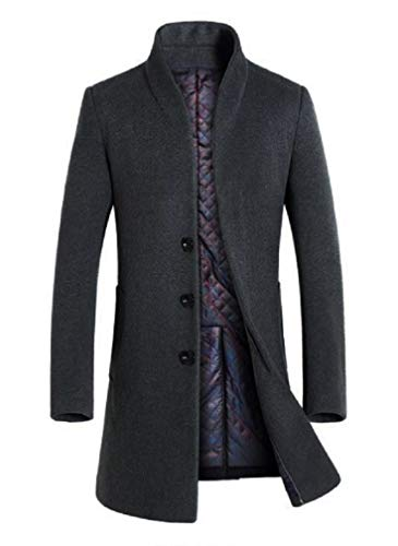 Lavnis Men's Trench Coat Long Wool Blend Slim Fit Jacket Overcoat Size Thicken Style Style 1 Gary L