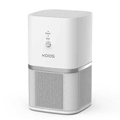 KOIOS True Hepa Filter Air Purifier, Desktop Air Purifier Home Air Cleaner Compact Design Super Quiet Rooms Offices, Removing Allergens (Air Purifier White)