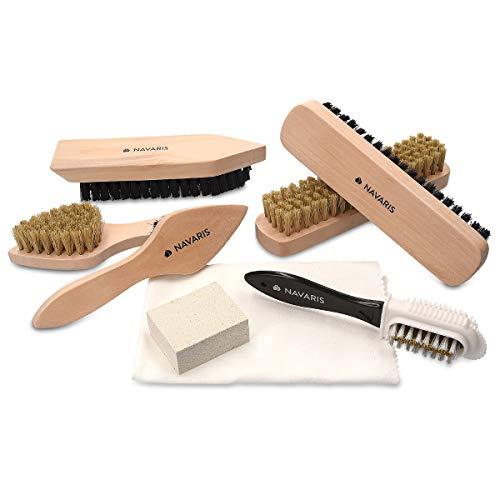Navaris Set brosses à chaussures - Kit 8 outils d'entretien - 6x brosse 1x gomme 1x tissu de polissage - Nettoyage cuir… 1