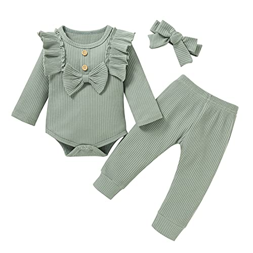 newborn baby girl clothes Winter 0-3 0-6 3-6 months green solid color ribbed outfits with bow headband Floral Sleeve Romper Pants 3pcs