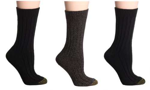 Gold Toe Women's 3-Pack Weekend Sock, Black Assortment, 9-11 (Shoe Size 6-9) (Socks Cotton Toe Gold)