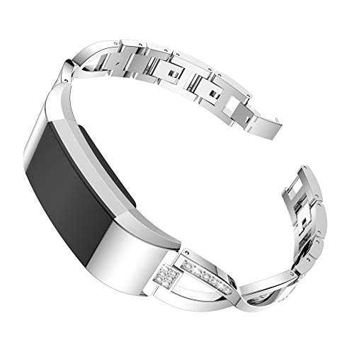 Goorovgi for Fitbit Charge 2 Bands Replacement Metal Band Bracelet Strap Wristband Accessories fot Ftibit Charge 2 Women Men (Silver)