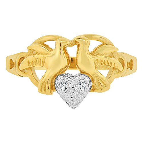 14k Yellow Gold White Rhodium, Doves Heart Ring Created CZ Crystals Size 5.5