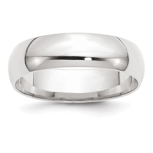 Jewelry Adviser Rings 14KW 6mm LTW Comfort Fit Band Size 11.5 Size 11.5 ()