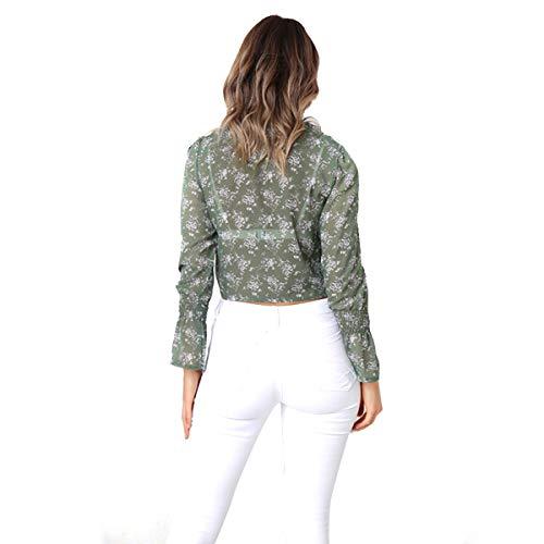 Maniche t Lunga con Shirt Donna Chiffon per a in Floreale Manica Maglietta Scollo a Green Lunghe con Farfallino Jahurto Camicetta qF8qg