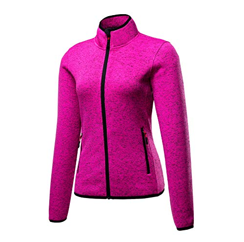 beroy Women's Stand Collar Jacket Zip Up Sweater Jacket Sportswear Fleece Jacket for Women(Rose Pink XX-Large)