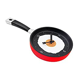 Decorative Fry Egg Pan Wall Clock,Frying Pan with Fried Egg Shaped Wall Clock,Kitchen Themed Unique Wall Clock (Red)
