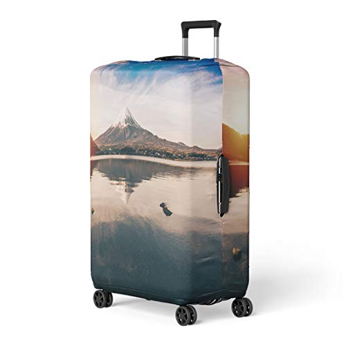 Pinbeam Luggage Cover Mt Fuji in Kawaguchiko Lake of Japan Mount Travel Suitcase Cover Protector Baggage Case Fits 26-28 inches