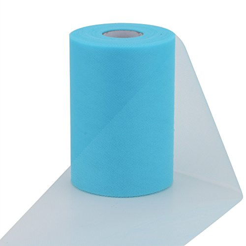 1/2' 100 Bows (vLoveLife Turquoise 6 Inch x 100 Yards Tulle Roll Spool Fabric Table Runner Chair Sash Bow Tutu Skirt Sewing Crafting Fabric Wedding Party Gift Ribbon)