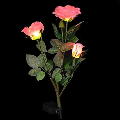 Whitelotous Solar Power 3 LED Rose Flower Light Garden Ya...