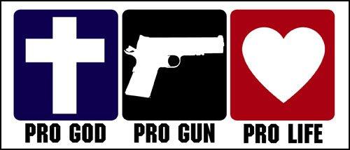 American Vinyl Pro God Pro Gun PRO Life Bumper Sticker (Anti Abortion Christian)