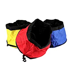 Petroad Portable Collapsible Food & Water Bowl For Pet (Blue, Yellow, Red)