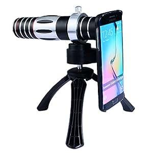 Apexel 5 - Manual de 15X de zoom óptico de enfoque de la lente teleobjetivo telescopio con trípode y sostenedor de tapa dura para Samsung Galaxy S6 Edge
