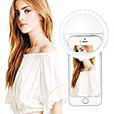 Selfie Ring Light - Rechargeable Light Ring for Camera - Clip on Selfie LED Camera Light with 3 brightness levels for iPhone iPad Sumsung Galaxy Photography Phones - Great for Applying Make Up