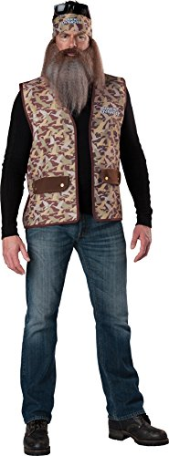 UHC Duck Dynasty Phil Robertson Vest w/ Wig & Beard Mens Halloween Costume, OS