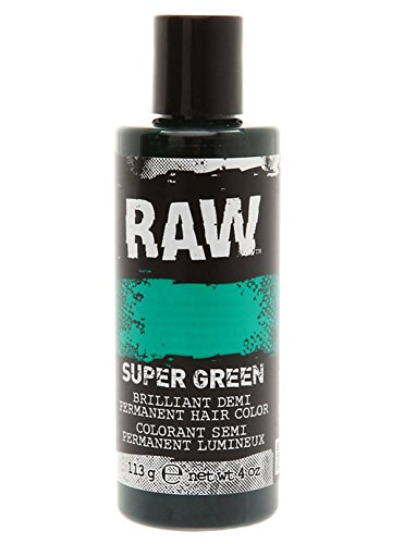 Super Green Hair Color, Demi-Permanent 4 oz by RAW. Veggie-Based, Scented, Long-Lasting Temporary Hair Dye that Lasts 3 to 6 Weeks. Never Tested on (Green Temporary Hair Color)