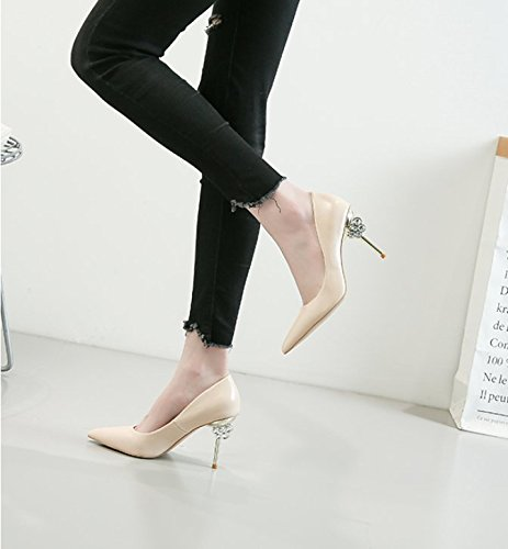 Heel Spring Color Work Heel 7Cm Single Elegant High MDRW Sharp Shoes Women Heel Leisure 35 Drill Occupation Water Mouth Shallow Naked Shoes Sexy Shoes Thin Lady ZqAWIWn7
