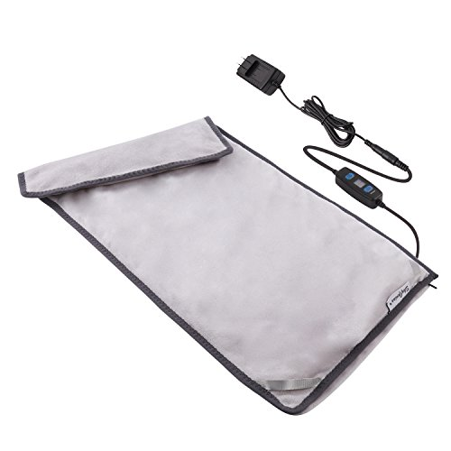 Far Infrared Electric Heating Pad with Auto Shut Off, W/Graphene Fast Heating Technology, 3 Heat-Settings, 110V Input 12V Output, Safe for Back Cramps Arthritic Pain Relief (12