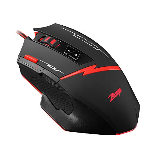 Yuemizi for PC and laptop Zelotes C-8 programmable 8-button LED optical USB gaming mouse and mouse 2500 DPI for PC laptop 8-key game programming mouse Custom gun mouse