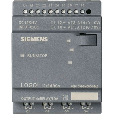 Siemens 6ED10522MD000BA6 , LOGO! 12/24RCo, Input Voltage 12/24 V DC, 8 DI (2 AI), 4 Relay Out, W/O Display