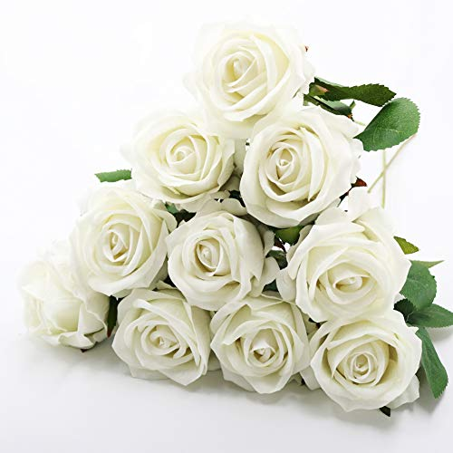 Silk Artificial Flowers, 10PCS Rose Artificial Wedding Flowers, Fake Rose Real Touch Flowers for Indoors Outdoors Gifts Anniversaries Bouquet Home Garden Birthday Party Events DIY (White) from Meetu DIY US