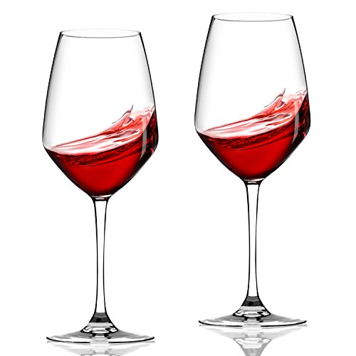 Lovinpro Hand Blown Wine Glass Set of 2,100% Lead Free Long Stem Red Bordeaux/Cabernet Wine Glasses 21 oz ,Crystal Clear Glassware Great Gift for Wine Lover For Sale