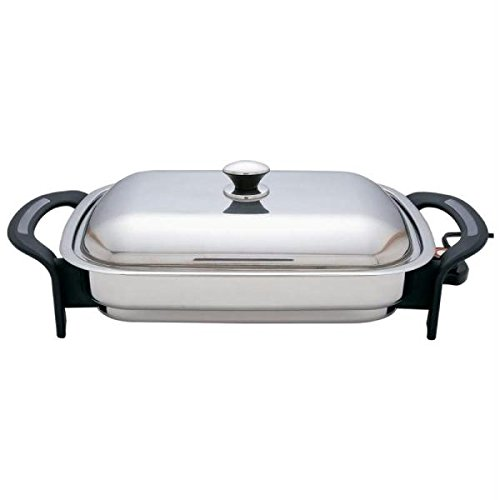 Precise Heat 16-Inch Rectangular Surgical Non Stick Stainless Steel Electric Skillet (Stainless Steel Electric Fry Pan compare prices)