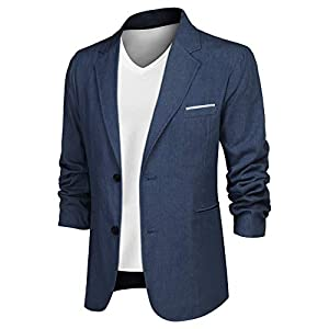 Men's Denim Blazer Jacket Casual Suit Cotton Sport Coat Two Buttons Lapel
