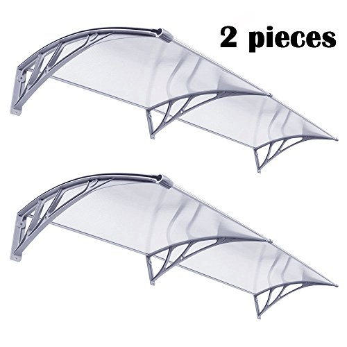 (Super Deal 2 Pieces Overhead Clear Door Window Outdoor 40'' x 80'' Awning Door Canopy Patio Cover Modern Polycarbonate UV Rain Snow Protection 1m x 2m, Pack of 2)
