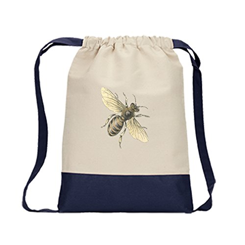 Canvas Backpack Color Drawstring Honey Bee Vintage Look By Style In Print | Navy
